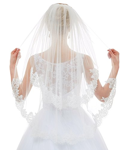 - Greenia 2 Tier Lace Veil with Comb Short GN-V11