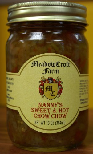 Chow Chow Sweet & Hot - MeadowCroft Farm Nanny's Sweet & Hot Chow Chow 2 Pack All Natural Blend of Green Tomatoes, Onions, Green & Red Peppers, Cabbage, Turmeric, Celery & Mustard Seeds ()
