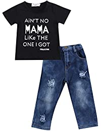 2pcs/set bebé Kids Baby Boy playera Tops Denim Pantalones pantalones ropa Outfits