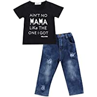Toddler Baby Little Boy T Shirts Outfit Funny Top Ripped Demin Jeans Clothes Set