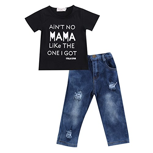 Toddler Baby Little Boy T Shirts Outfit Funny Top Ripped Demin Jeans Clothes Set (Black+Blue(2), 3-4T)