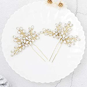 Unicra Bride Wedding Crystal Hair Pins Flower Bridal Hair Pieces Wedding Hair Accessories for Women and Girls Pack of 2 (Gold)