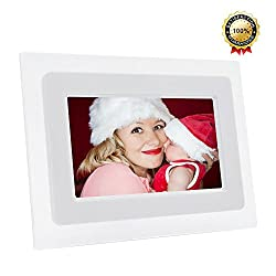 7-Inch Digital Photo Frame TFT LCD Screen with Auto- Play/Calendar/Clock Function, 800x480 High Resolution- Support 32GB SD Card (White)