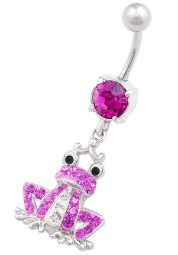 beautiful Frog dangly belly button ring 14g 3/8 stainless steel navel piercing bar body jewelry BEMX