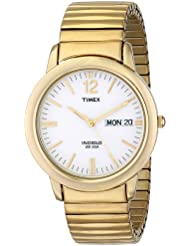 Timex Mens T21942 Chambers Street Gold-Tone Stainless Steel Expansion Band Watch