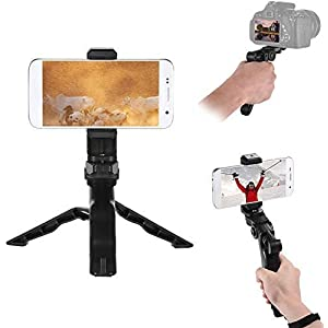 Andoer Camera Stabilizer 1 4 Screw Handheld Mini Universal Smartphone Holder Tripod for iPhone Samsung Android Multi-Use Pistol Grip One Size Phone Tripod 22