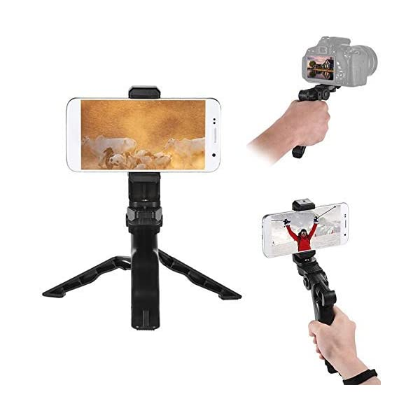 Andoer Camera Stabilizer 1 4 Screw Handheld Mini Universal Smartphone Holder Tripod for iPhone Samsung Android Multi-Use Pistol Grip One Size Phone Tripod 1