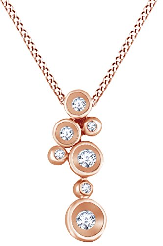 Circle Diamond Multi Pendant - AFFY Round White Natural Diamond Multi Circle Pendant Necklace in 14k Solid Rose Gold (0.17 Ct)