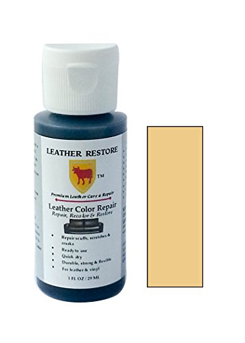 Leather Restore Leather Color Repair, BEIGE, 1 OZ Bottle - Repair, Recolor & Restore Leather & Vinyl Couch, Furniture, Auto Interior, Couch, Car Seats, (Cream Leather Finish)