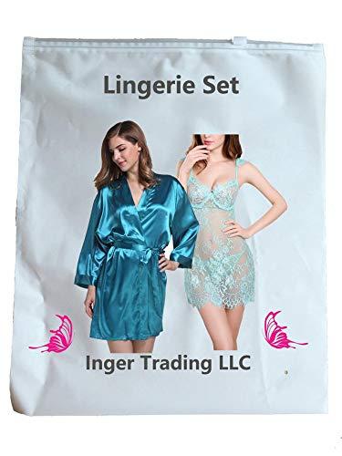 a621fc914e8 IngerT Nightwear Wedding Night Out Dress Set Silk Like V Neck Short Robe  with Sexy Teddy for Women  Amazon.ae