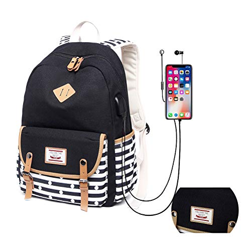 Canvas School Backpack for Teen Girls with USB Charging Port (Good Teen Presents)