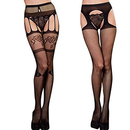 Bow Fishnet Thigh Highs - TAROMAING Womens Fishnet Thigh-High Stockings Tights Suspender Pantyhose Socks 2 Pack (Style 4)