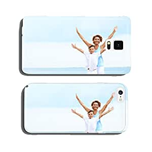 Happy mother and son standing on the beach. cell phone cover case iPhone5