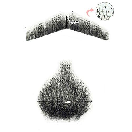 100% Human Hair Full Hand Tied Men Fake Beard Mustache makeup body care full set