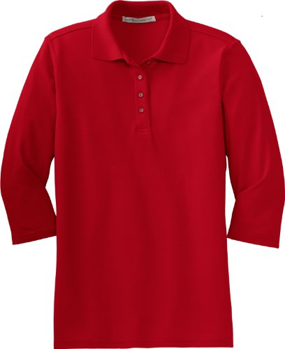 Sport Sleeve Pique Shirt (Port Authority Women's Silk Touch 3/4 Sleeve Sport Shirt, XX-Large, Red)