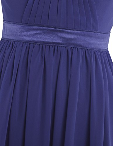 Bridesmaid Prom Evening Chiffon Pleated Waisted High Gown Dress YiZYiF Empire Long Blue Navy qSRx4TU