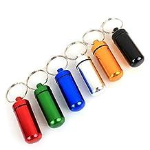 6Pcs 49*17mm Assort Color Pill Box Keyring-Waterproof Aluminum Travel Pill Holder Keychain Portable Mini Pill Box Case Bottle Container