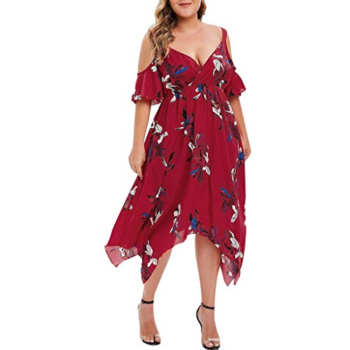Answerl Women's Plus Size Cold Shoulder Floral Slit Hem Tropical Summer Maxi Dress Casual V-Neck Sundress Red]()