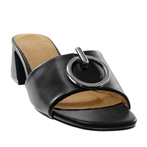 Chaussures on Mode Anneau Haut Talon Angkorly 4 Métallique Cm D'un Sandales Slip Noir Femmes Mules Des Bloc wrrdH70zq