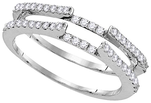 14k White Gold Round Diamond R