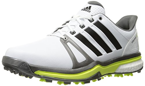 adidas Men's Adipower Boost 2 Golf Cleated, FTWR White/Dark Silver Metallics05/Solar Yellow, 11.5 M US