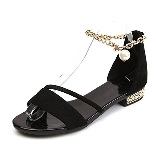 Size Daily Flats 35 Ankle Open Sandals 39 Trend Strap Sandals Perfues Women Footwear Shoes Black Summer Toe OvxqCO46