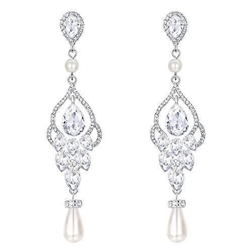 (EVER FAITH Women's Crystal Simulated Pearl Bridal Vintage Chandelier Teardrop Earrings Clear Silver-Tone)