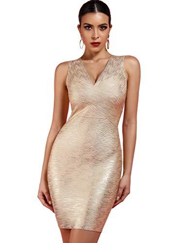 UONBOX Women's Rayon Sexy V-Neck Bandage Bodycon Gold Foil Print Club Party Dress