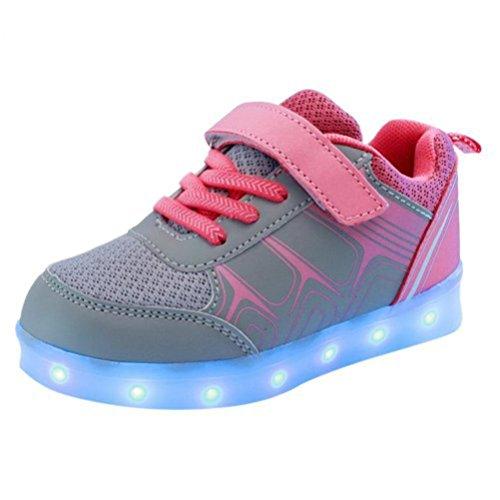 [Present:kleines Handtuch]JUNGLEST® Kinder Jungen Mädchen LED Light Sneakers Fluorescence Spo Rose