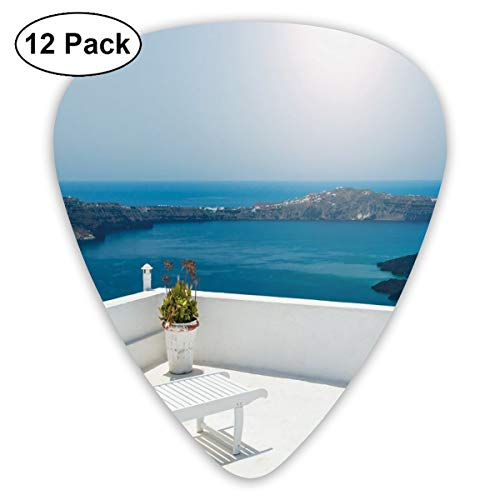 Guitar Picks 12-Pack,Sunbed On The Terrace White Architecture Santorini Island Greece Idyllic View Sea