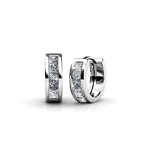 Cate & Chloe Giselle 18k White Gold Plated Swarovski Crystal Hoop Earrings, Beautiful Sparkling Silver Small Hoops Earring Set, Wedding Anniversary Fashion Jewelry - Hypoallergenic -MSRP $125 from Cate & Chloe