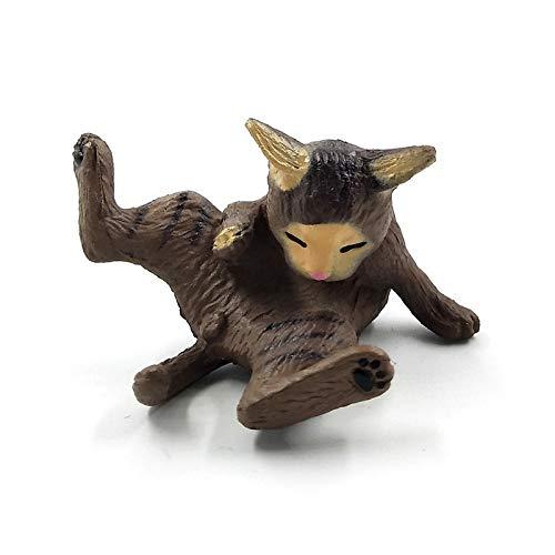 Viet-GT Cat Statue - 1pc Playing Cat Figurine Miniature Lifelike Kitten Animal Decoration Mini Fairy Garden Cartoon Statue Craft Home Car Decorative