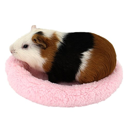 She-love Round Velvet Warm Sleep Mat for Hamster, Cute Guinea Pig Bed, Small Animal Cage Mat Hedgehog Sleeping Mat (S, Pink)