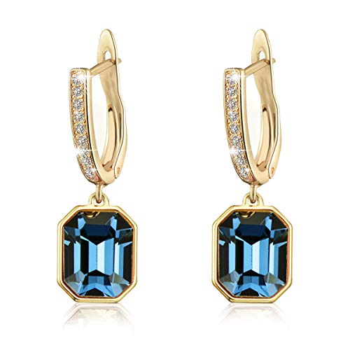 Swarovski Crystal Square Leverback Drop Earrings for Women Girls 14K Gold Plated Hypoallergenic Jewelry (Blue Crystal/Gold-tone)