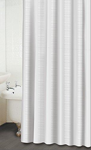 (WAVERLY Linen Stripe Snow Fabric Shower Curtain)