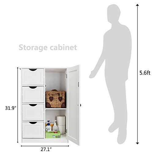 "Bonnlo Bathroom Storage Cabinet, Floor Cabinets Free Standing Wooden Side White Cabinet Organizer with 4 Drawerd and 1 Cupboard for Bathroom Kitchen Office 21 11/16"" X 11 13/16"" X 31 7/8"""