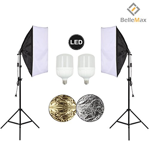 Belle Max (2)20''x28''Photography Softbox Lighting Kit Photo Studio Equipment,Including (2) 28W LED Bulbs,(1)24'' 2-in-1Reflector, Ideal for any vlog, portrait, costume and object photography by Belle Max