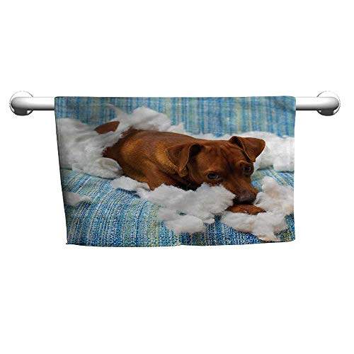 Square Towel Dog Lover,Naughty Playful Puppy,Towel for Men