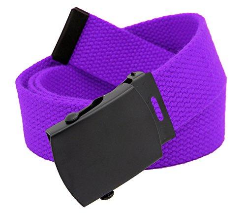 Men's Black Slider Military Belt Buckle with Canvas Web Belt Large Purple