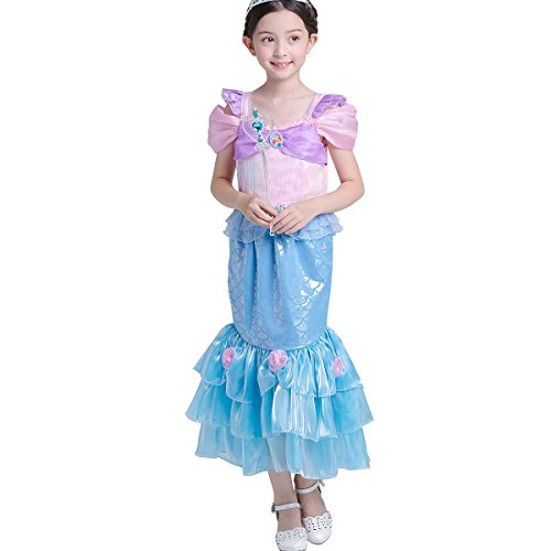 LOEL Halloween Gift Girls' Princess Mermaid Dress Party Costume