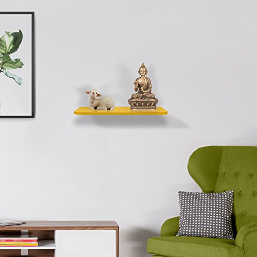Klaxon Decor Front Glass Shelf   Wall Shelf   12*6   Yellow