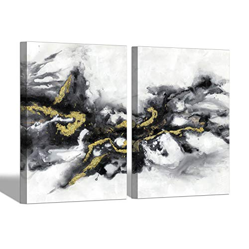 Black & White Abstract Wall Art: Watercolor Ink Splash Abstract Painting Picture for Living Room (24'' x 18'' x 2 Panels)