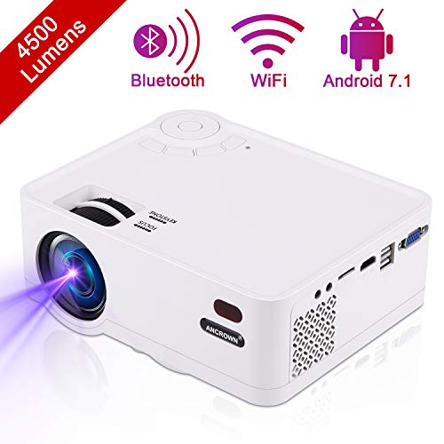 Video Projector, ANCROWN 2019 Upgraded Android System 4500 Lumens Full HD 1080P Home Theater Projector, 70,000 Hours LED Service Life, Bluetooth WiFi Mini Projector for Smartphone, PC, TV Box, et