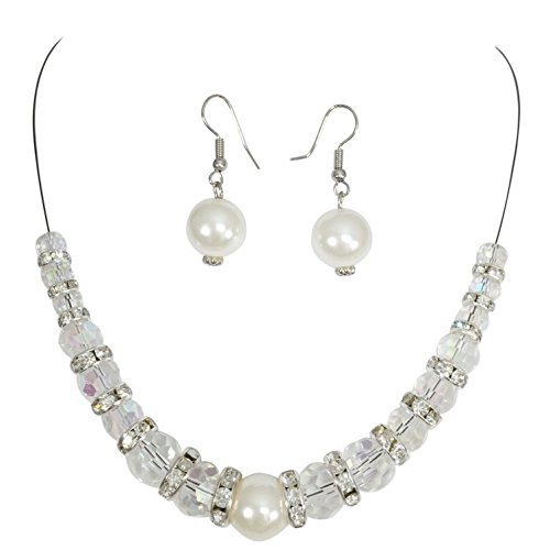 Gypsy Jewels Single Strand Illusion Wire Beaded Necklace Dangle Earrings Set (Imitation Pearl)