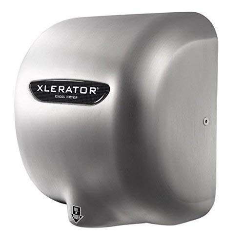 Excel Dryer XLERATOR XL-SB 1.1N High Speed Automatic Hand Dryer, Brushed Stainless Steel Cover, Heat Control Options with Noise Reduction Nozzle 110/120V 12.5 Amps (2 Pack)