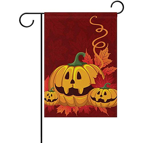 Sandayun88x Garden Flags Halloween Pumpkin Welcome Garden Flag 12 X 18 Inches, Double Sided Seasonal Outdoor Flag and Best for Party Yard Home Decor ()