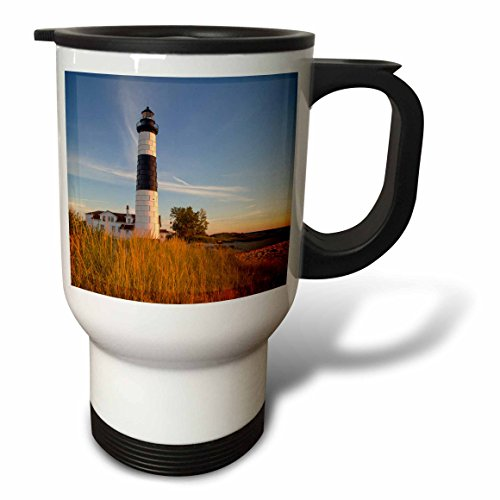 3dRose tm_190096_1 Big Sable Point Lighthouse, Lake Michigan, Ludington SP, Michigan, USA-Travel Mug, 14 oz, Stainless Steel, White (Big Sable Lighthouse)