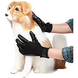 XJ Pet Grooming Glove 2-in-1 Hair Remover Mitt One Pair, Enhanced 5 Finger Design Deshedding Hair Remover Massage Tool