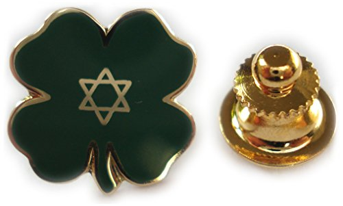 Lucky Jewish Four Leaf Clover Irish Isreal Star of David Lapel Pin