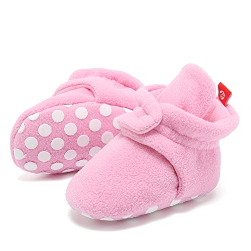 (FANTINY Newborn Baby Cozy Fleece Booties with Non Skid BottomDNDNKXBX,Button.Pink,13)